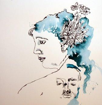 Entstehung Helene von Dönniges mit Lassalle (c) Zeichnung von Susanne Haun
