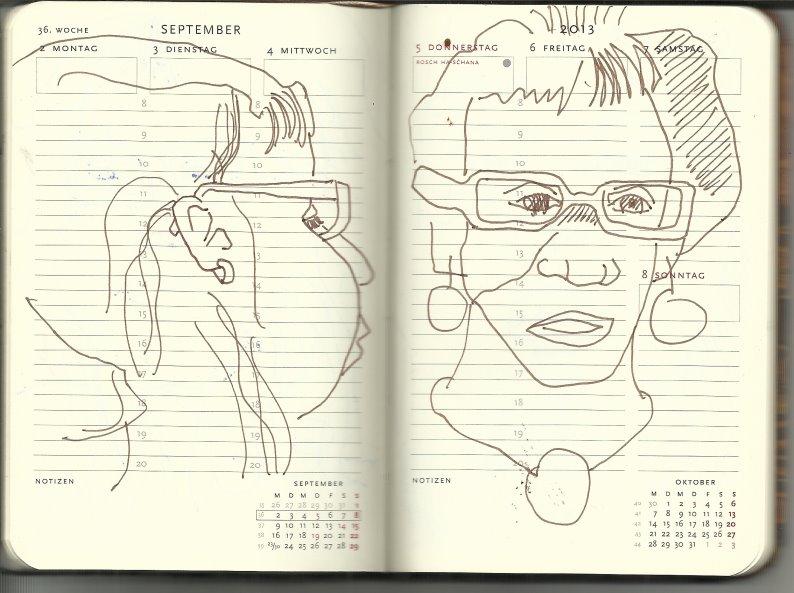 Selbstportrait Tagebuch 36. Woche (c) Zeichnung von Susanne Haun