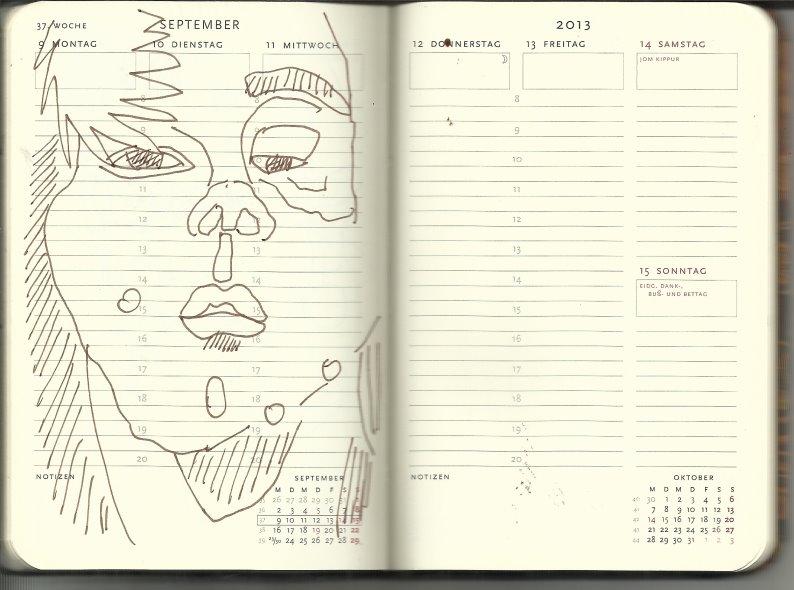 Selbstportrait Tagebuch 37. Woche (c) Zeichnung von Susanne Haun