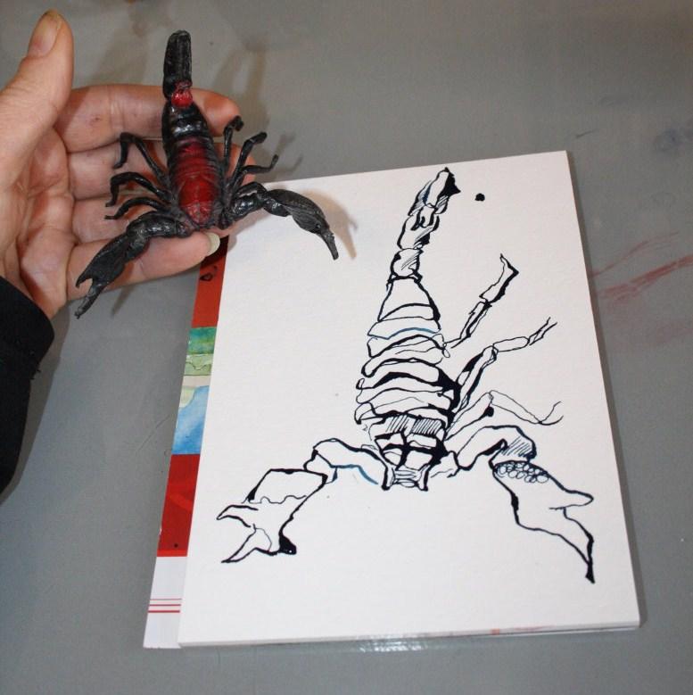 Ein zurückgelassener Skorpion - Entstehung Zeichnung von (c) Susanne Haun