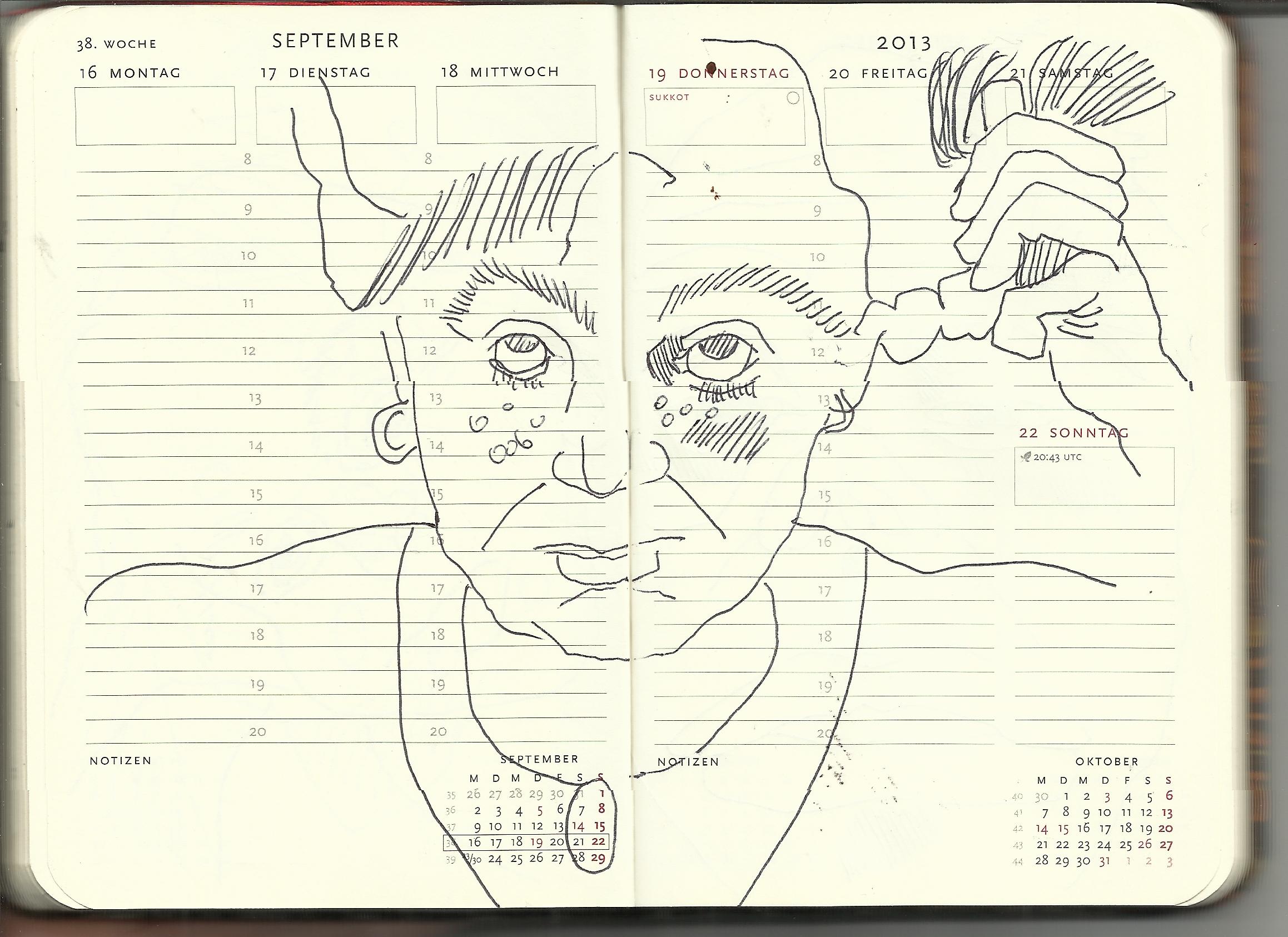 Selbstportrait Tagebuch 38. Woche (c) Zeichnung von Susanne
