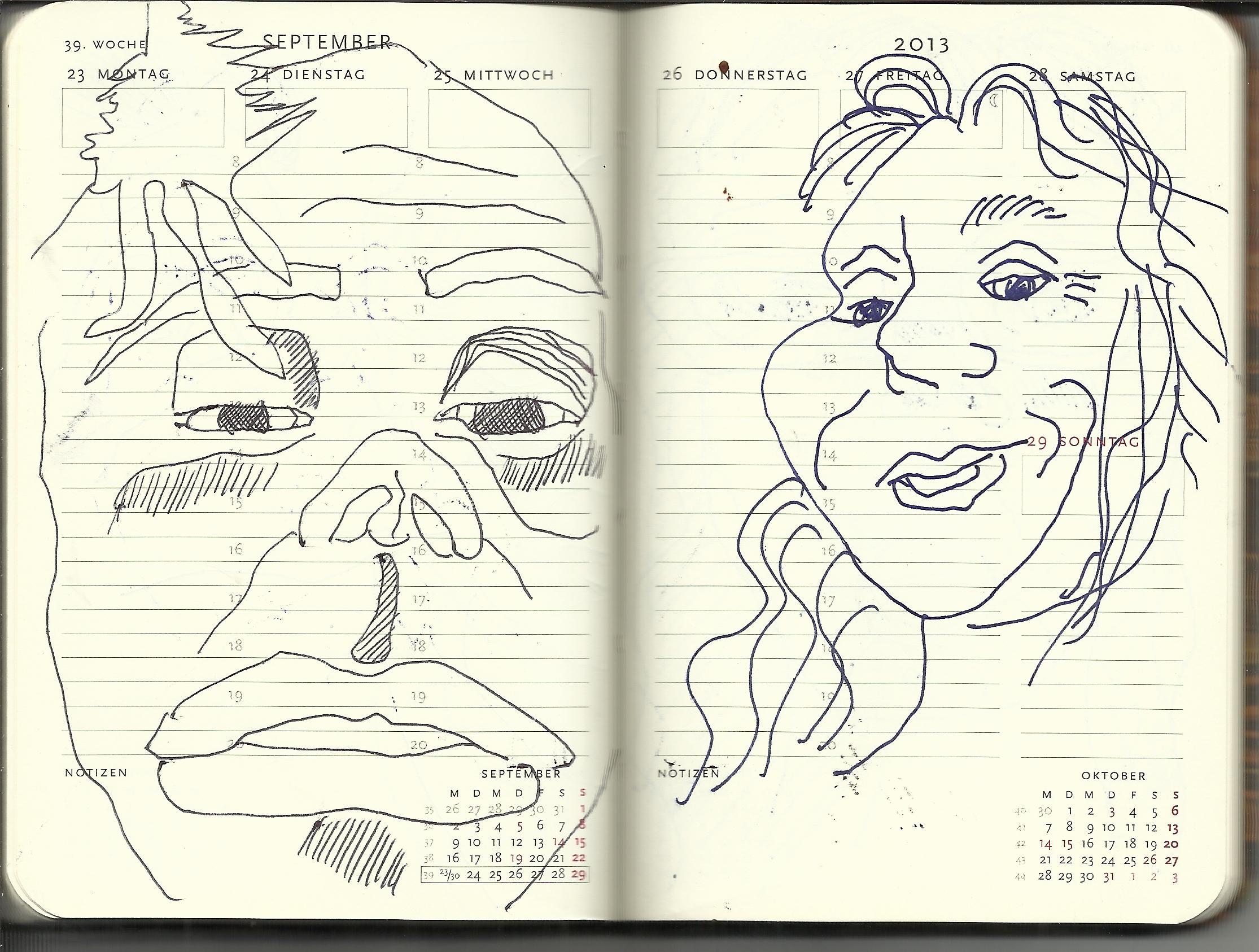 Selbstportrait Tagebuch 39. Woche (c) Zeichnung von Susanne Haun