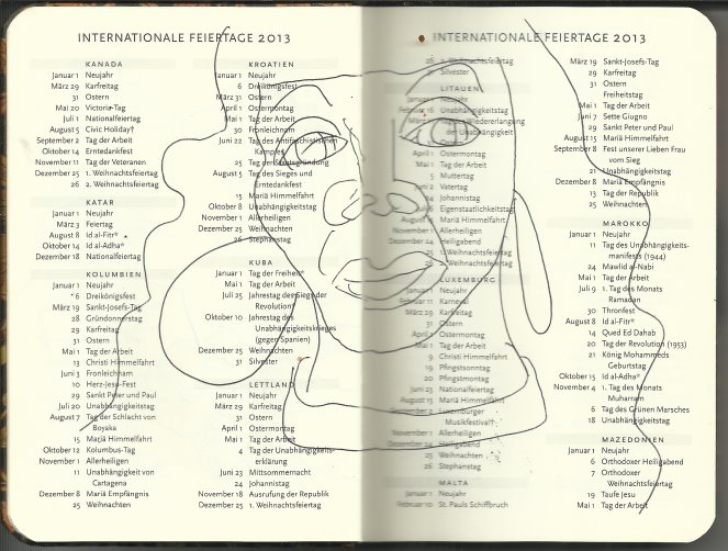 Selbstportrait Tagebuch Feiertage Seite 6 (c) Zeichnung von Susanne