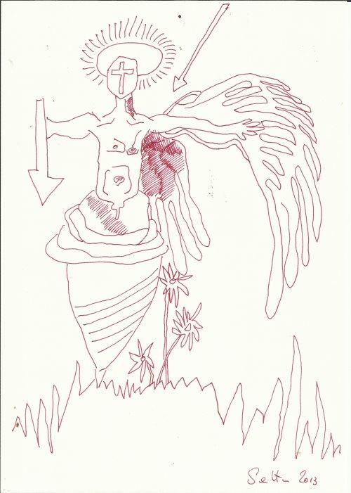 Mitten ins Herz (c) Zeichnung von Susanne Haun