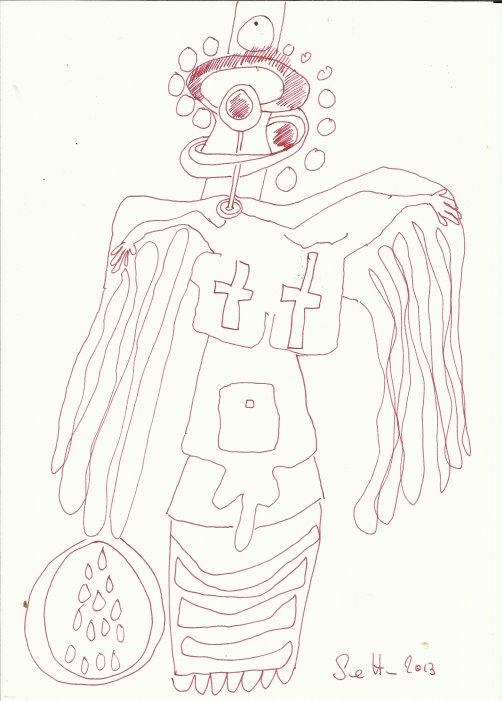 Von der Lanze getroffen (c) Zeichnung von Susanne Haun