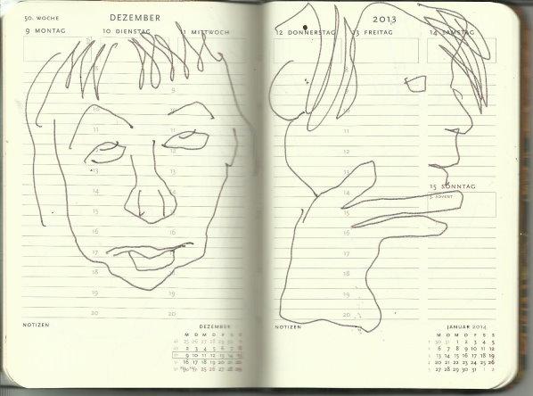 Selbstportrait Tagebuch 50. Woche (c) Zeichnung von Susanne Haun