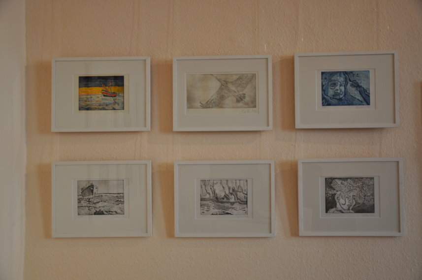 Radierungen von Susanne Haun in der Galerie Blickwinkel (c) Foto von M.Fanke