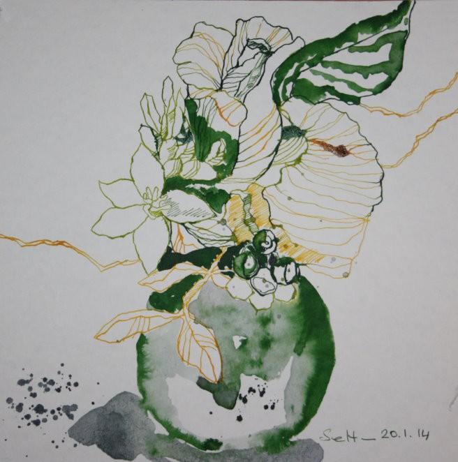 Blumenzeichnung Teri - 25 x 25 cm - Vers. 2 (c) Foto von Susanne Haun