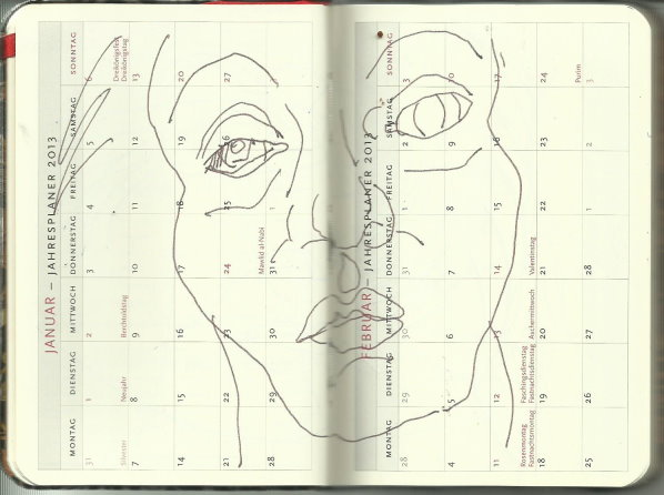 Selbstportrait Tagebuch Januar 2013 (c) Zeichnung von Susanne Haun