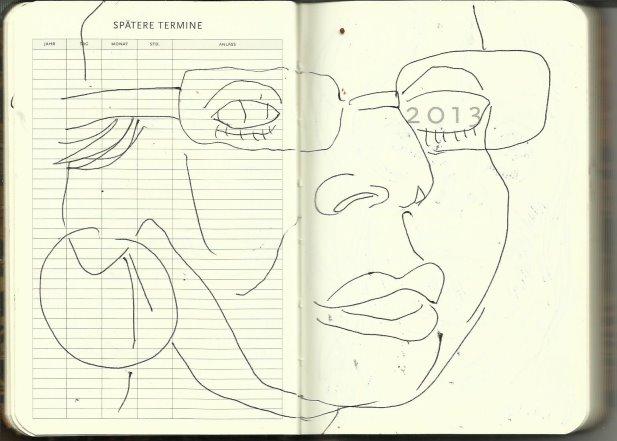 Selbstportrait Tagebuch Spätere Termine (c) Zeichnung von Susanne Haun