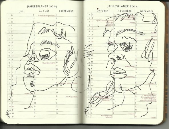 Selbstportrait Tagebuch Jahresplaner 2014 Juli - Dez. (c) Zeichnung von Susanne Haun