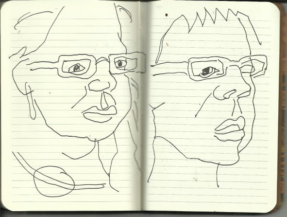 Selbstportrait Tagebuch Notizen (c) Zeichnung von Susanne Haun