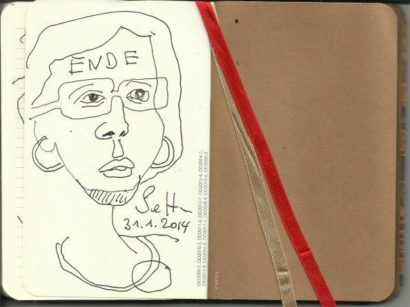 Selbstportrait Tagebuch Ende (c) Zeichnung von Susanne Haun