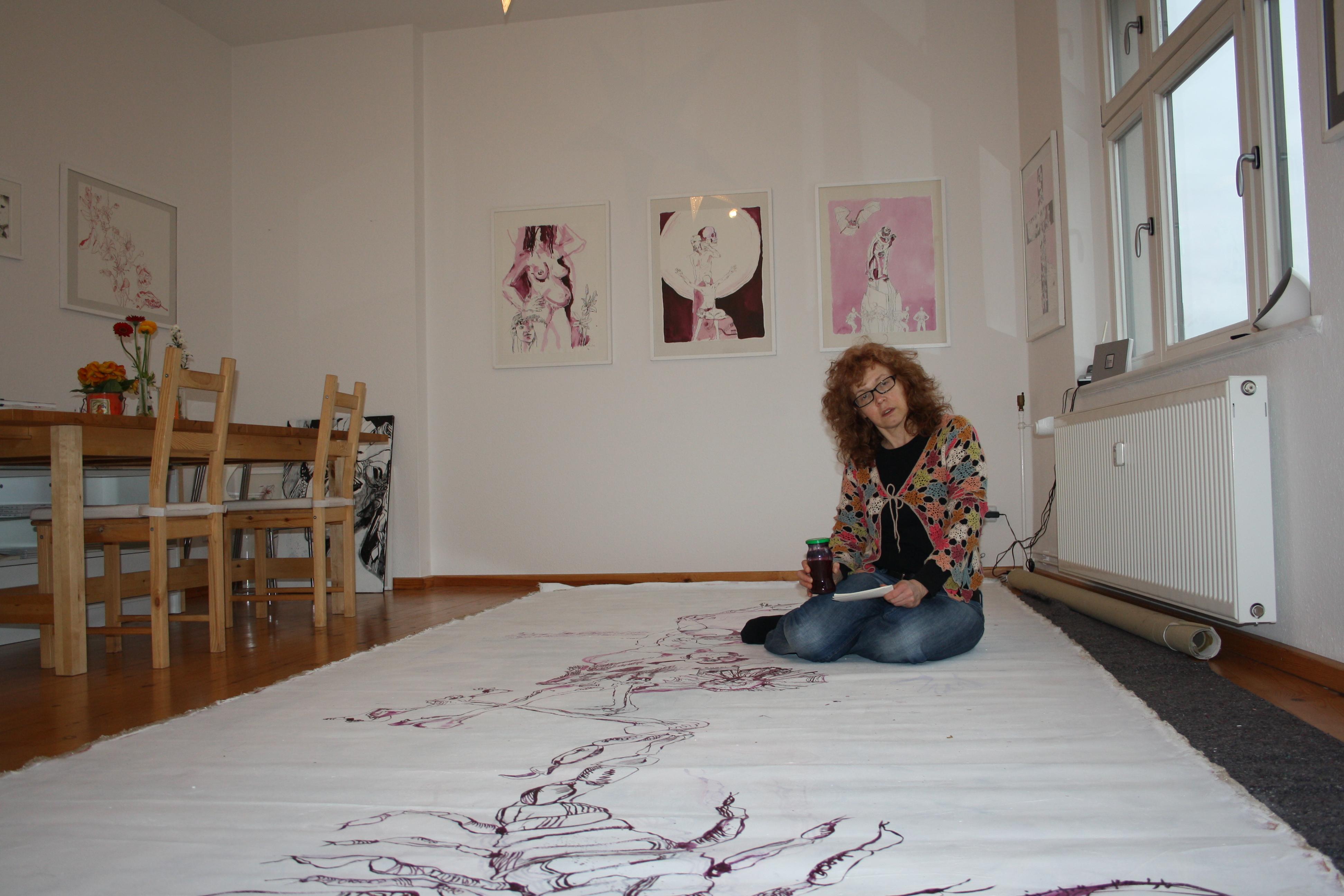 Eine Pause (c) Zeichnung auf Leinwand von Susanne Haun