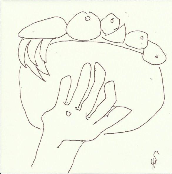 Skulpturen Orangerie (c) Zeichnung von Susanne Haun 0005