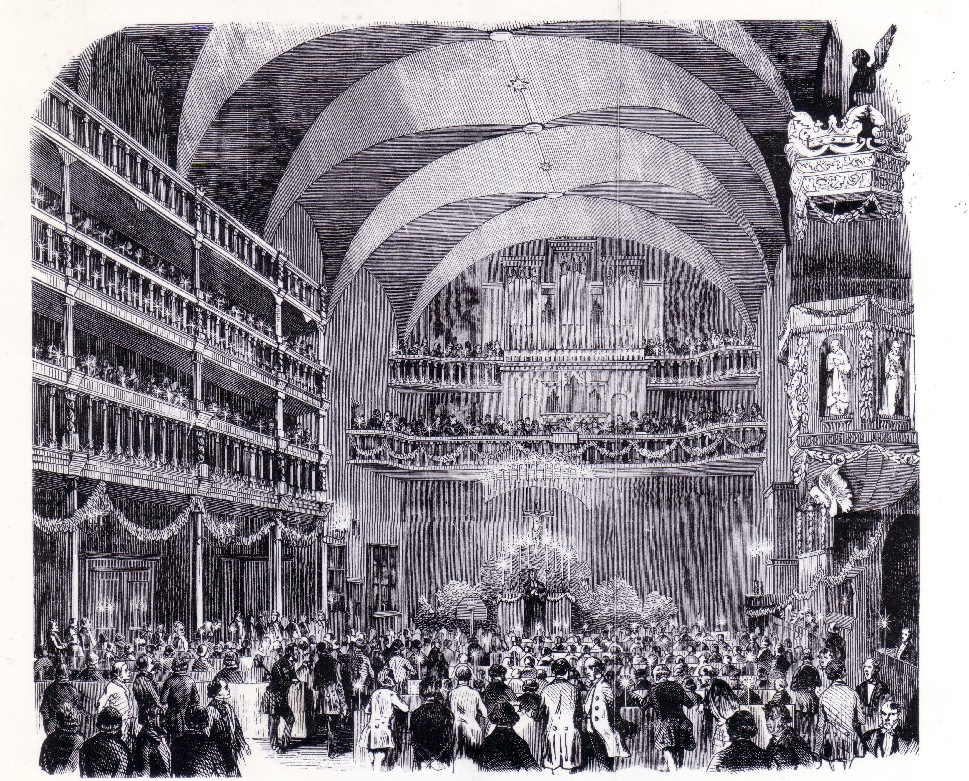 Fest-Gottesdienst in der Klosterkirche zur 300-Jahr-Feier der Fürstenschule Grimma (1850) (c) Wikipedia, Ghostwriter123