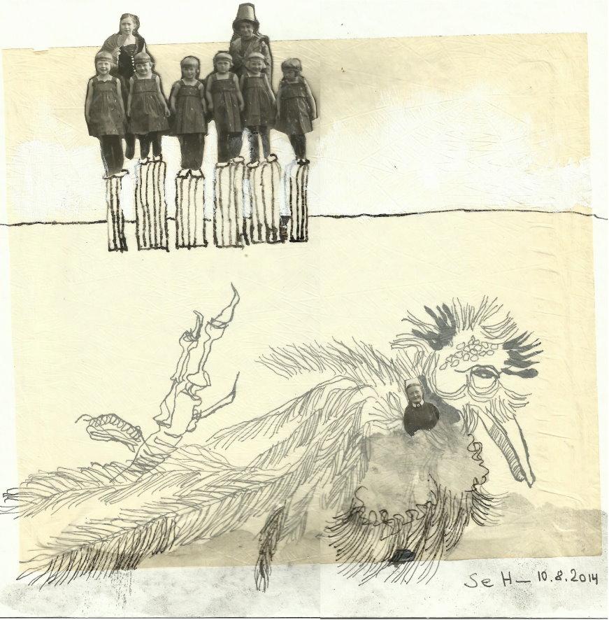 Blatt 35 - Strandgeflüster - 25 x 25 cm - Collage von Susanne Haun