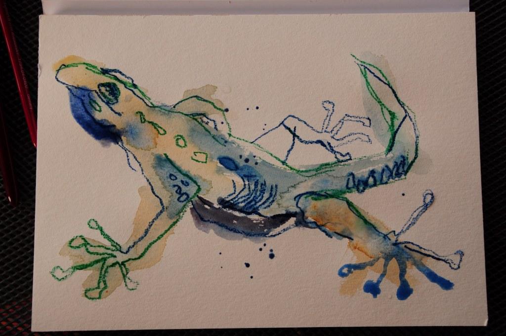 Gecko Vers. 1 - Aquarell und Pastellstifte auf Hahnemühle Burgund (c) Zeichnung von Susanne Haun