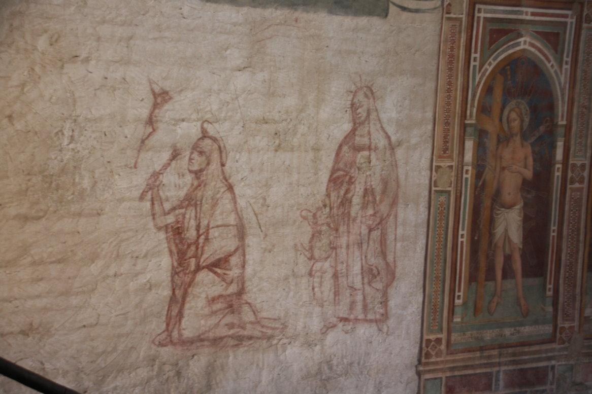 Entwurfzeichnung neben Teile des fertigen Freskos in der Basilica di San Miniato al Monte (c) Foto von Susanne Haun