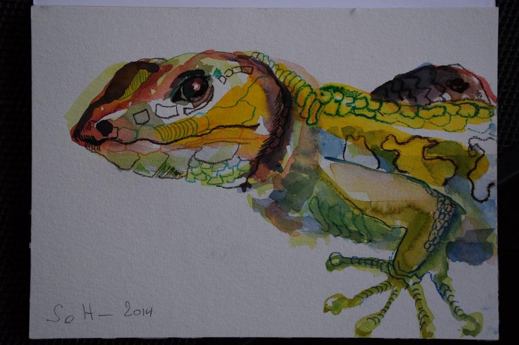 Gecko Vers. 3 - Aquarell und Pastellstifte auf Hahnemühle Burgund (c) Zeichnung von Susanne Haun