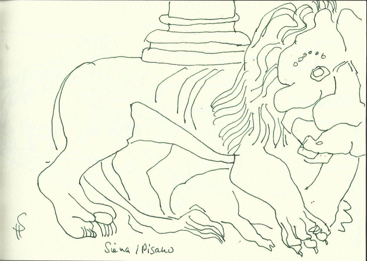Kanzel von Pisano (c) Zeichnung von Susanne Haun
