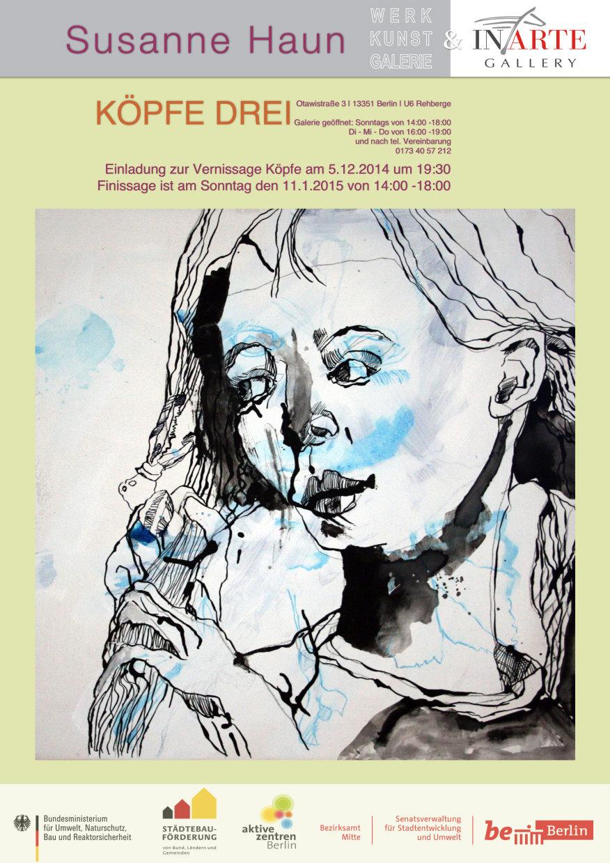 Ausstellung Köpfe in der Werkkunstgalerie mit Beteilung von Susanne Haun