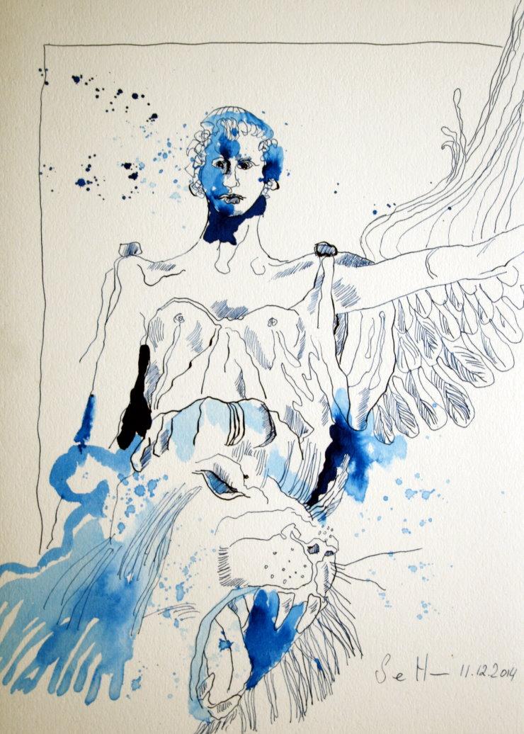 Löwe und Engel (c) Zeichnung von Susanne Haun