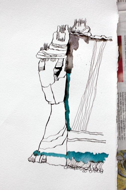 Entstehung Landschaft - 70 x 100 cm (c) Zeichnung von Susanne Haun