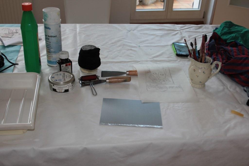 Vorbereitung für die Radierung (c) Foto von Susanne Haun