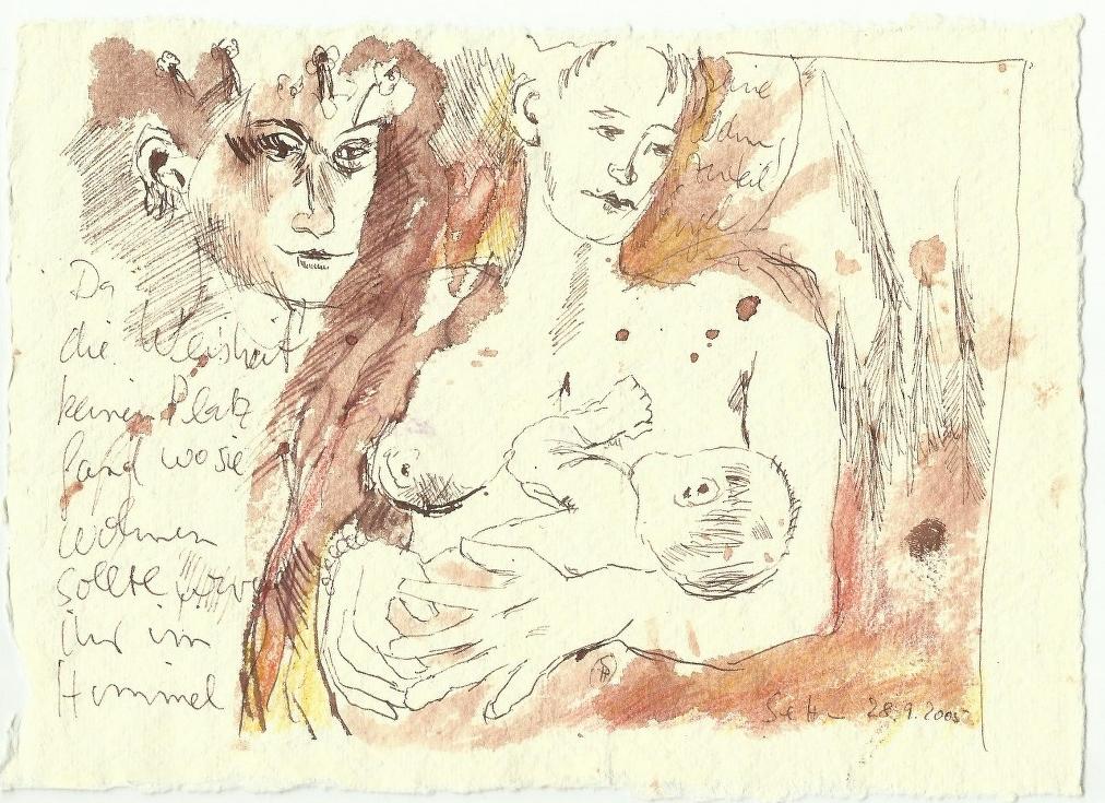 Die Geburt (c) Zeichnung von Susanne Haun