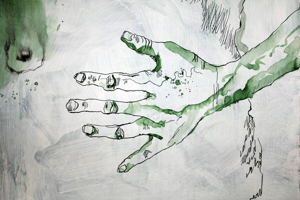 Zwischenstand  Leinwand Natur  (c) Zeichnung auf Leinwand von Susanne Haun