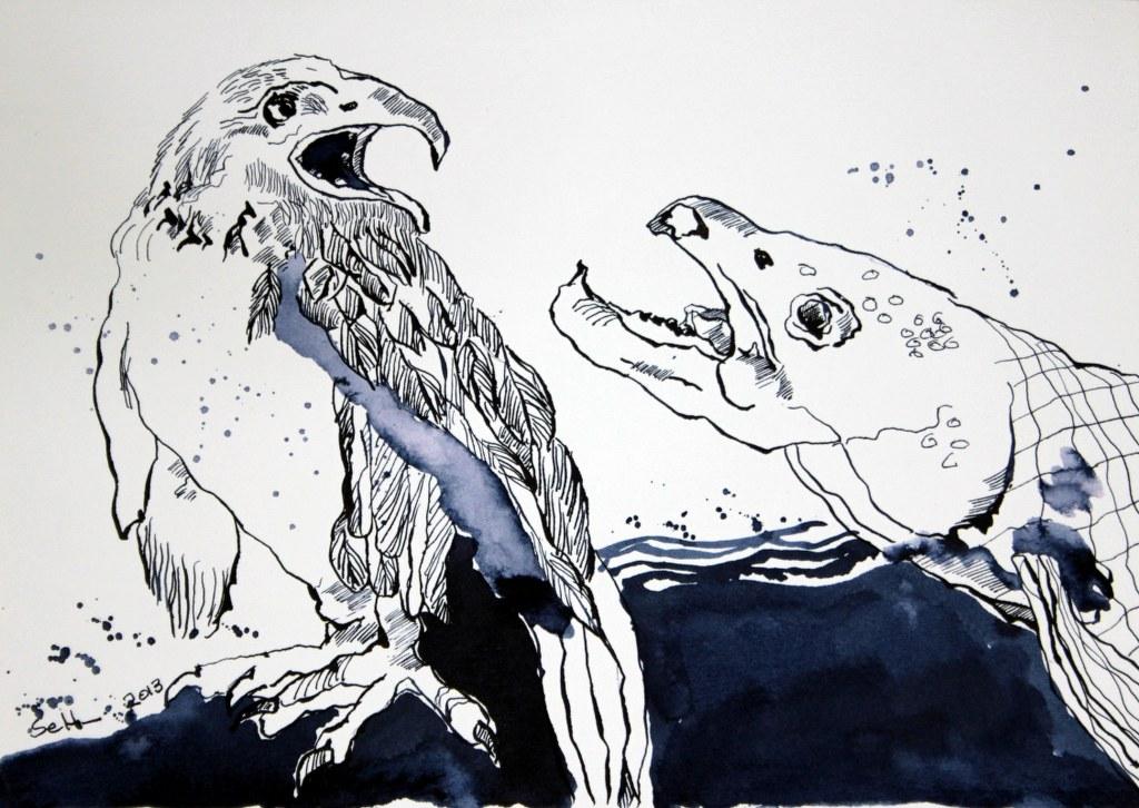 Falke und Lachs - 24 x 32 cm - Tusche auf Bütten (c) Zeichnung von Susanne Haun