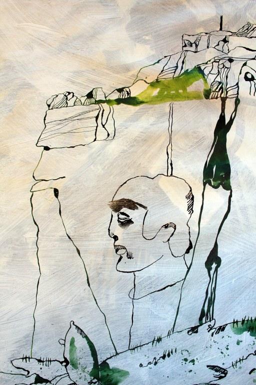 Entstehung der Leinwand Naturbeobachtung (c) Zeichnung von Susanne Haun
