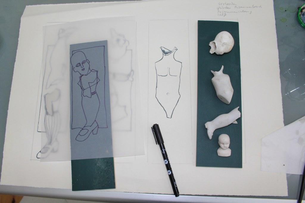 Ideenfindung Linolsschnitt (c) Foto von Susanne Haun