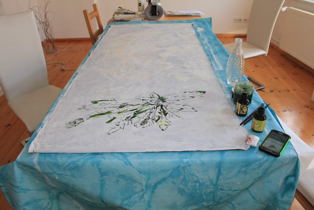 Die letzte Leinwand für Roddahn entsteht (c) Foto von Susanne Haun