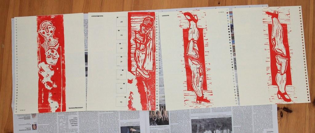 Verschiedene Linoldrucke zum Thema Zusammenbruch - Zusammenhang von (c) Susanne Haun