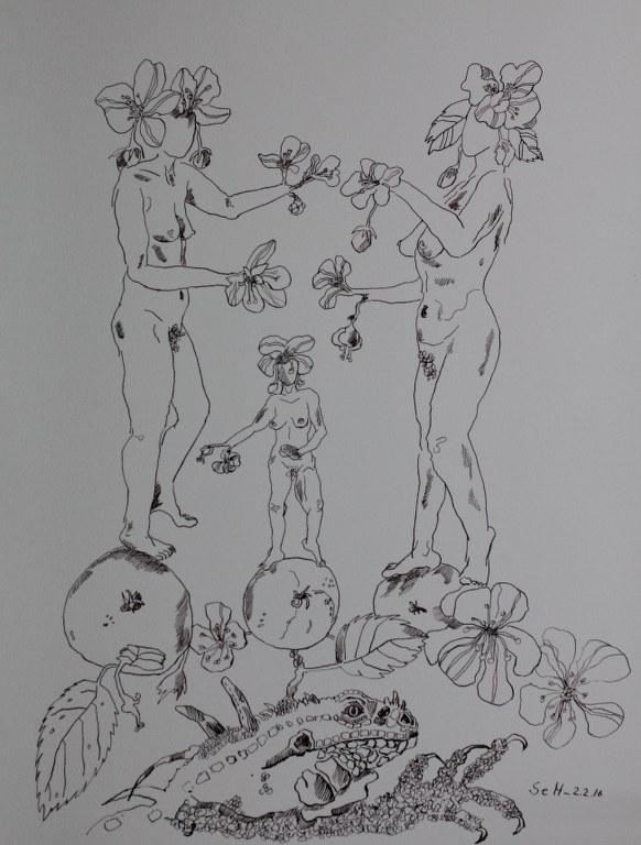 Das Urteil des Paris - Version 2 (c) Zeichnung von Susanne Haun