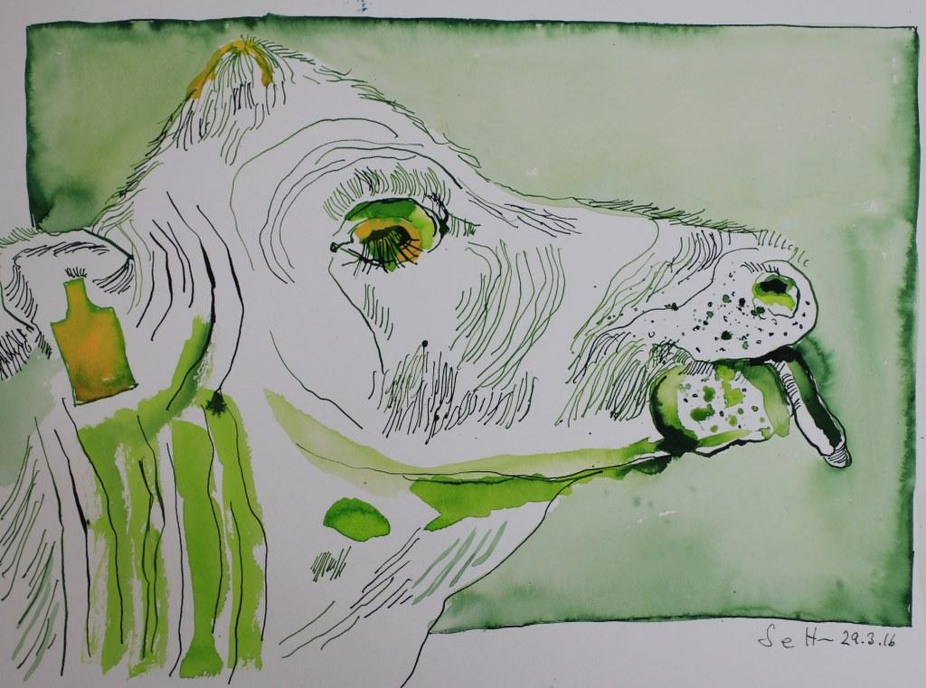 Sehgewohnheiten der Kleinsten – Die Kuh - Version 1 - Entstehung (c) Collage von Susanne Haun
