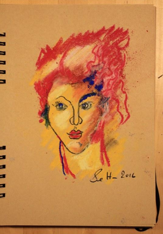 8. Schritt - Pastell Portrait (c) Zeichnung von Susanne Haun