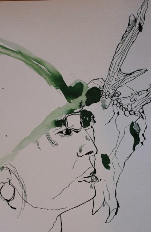 Ich und die Hirschkuh -53 x 24 cm (c) Zeichnung von Susanne Haun