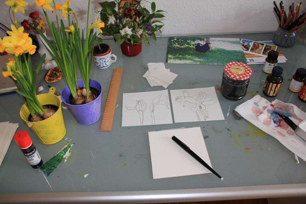 Osterglocken zeichnen (c) Foto von Susanne Haun