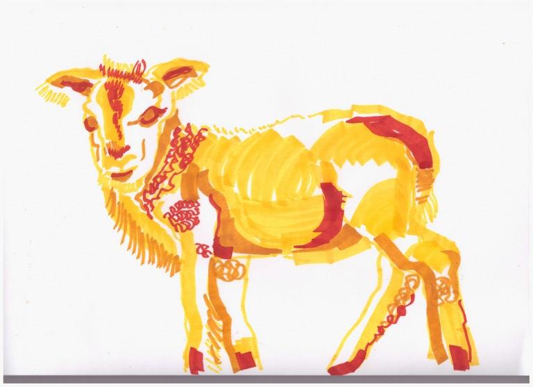 4. Schritt - Entstehung eines Lamm (c) Zeichnung von Susanne Haun
