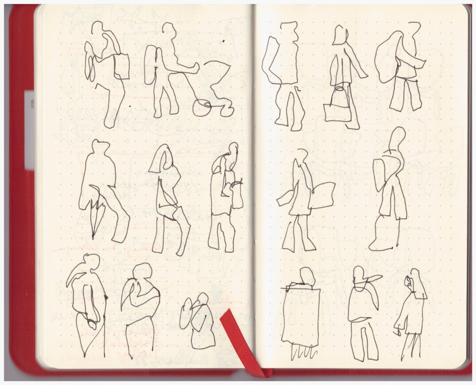 Im Kaffee der co - Passanten (c) Zeichnungen von Susanne Haun