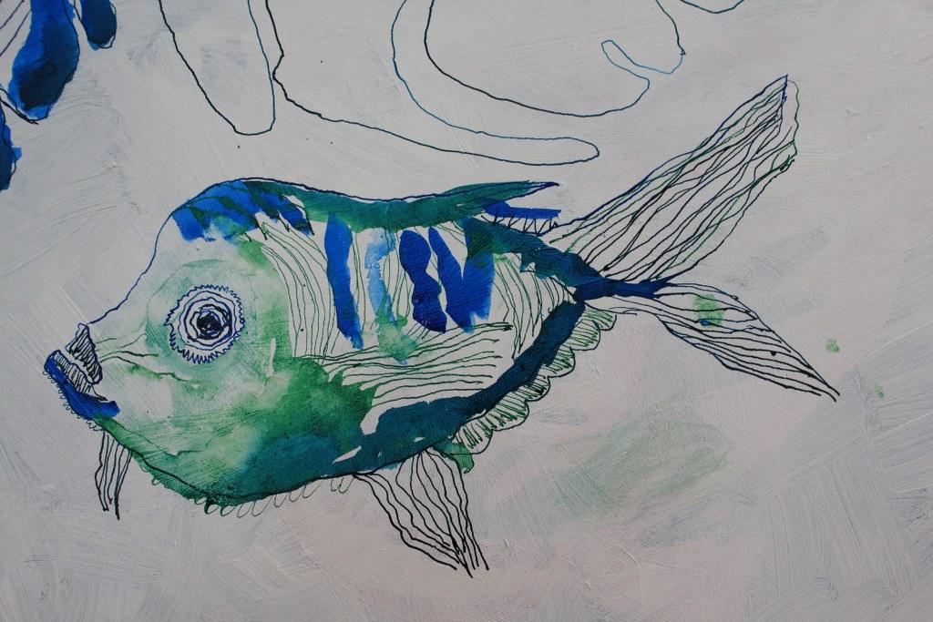 Fisch - Entstehung Dantes Barke der Wellen und Wogen - 70 x 50 cm (c) Zeichnung auf Leinwand von Susanne Haun