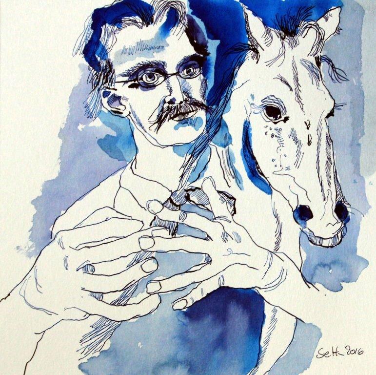 Nietzsche und das  Kutscherpferd - 25 x 25 cm - Tusche auf Aquarellkarton (c)  Zeichnung von Susanne Haun