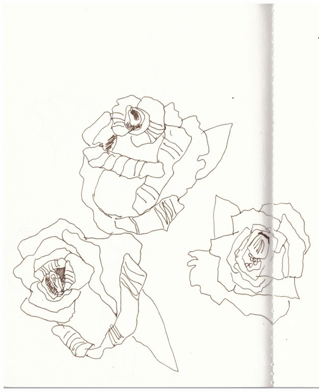 Rosen an Mamas Grab (c) Zeichnung von Susanne Haun -