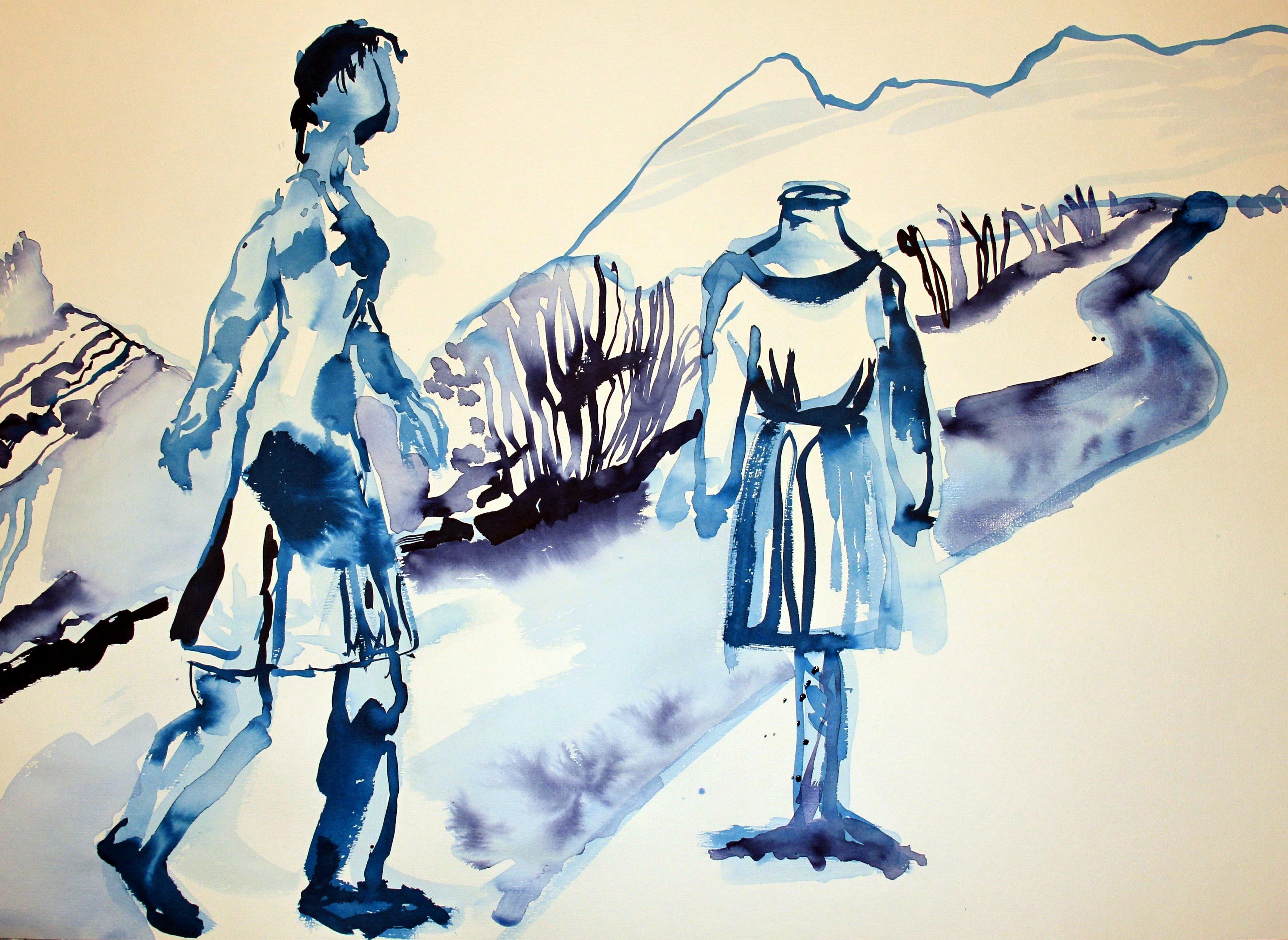 Eine neue Identität annehmen - 70 x 50 cm - Tusche auf Bütten (c) Zeichnung von Susanne Haun