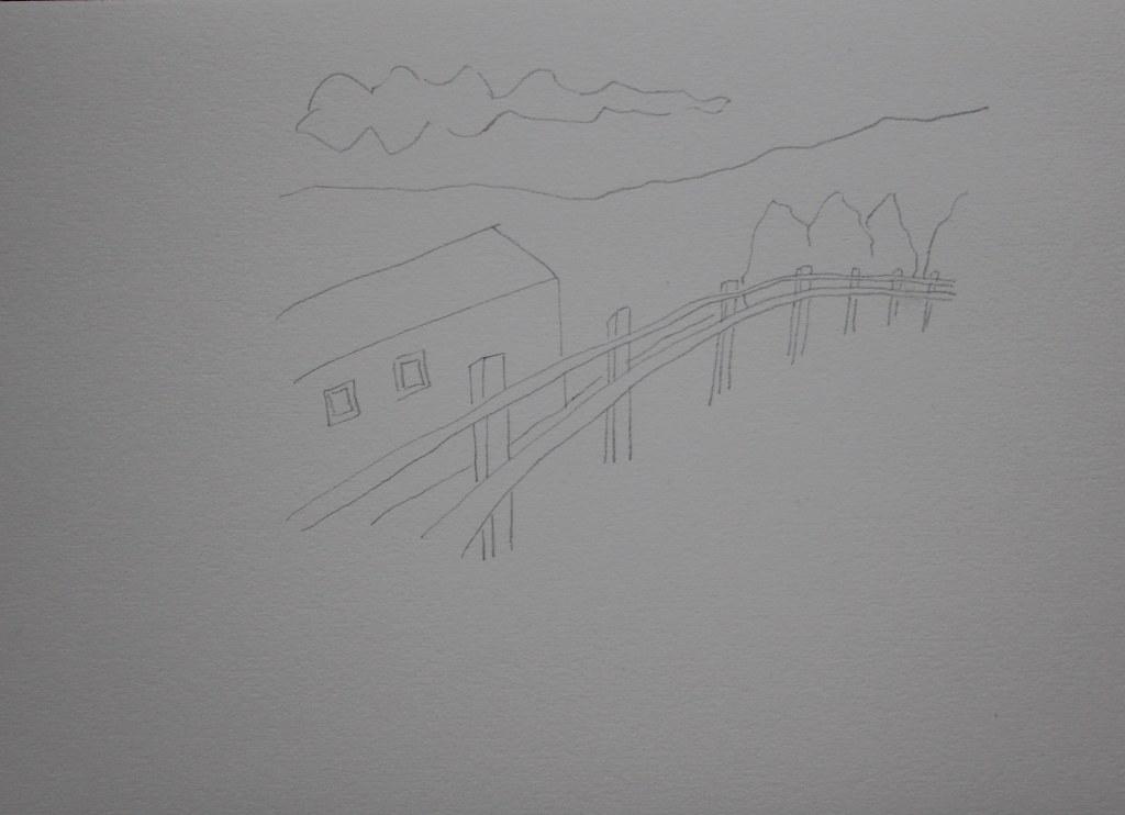 2 Bleistiftzeichnung Landschaft (c) Zeichnung von Susanne Haun