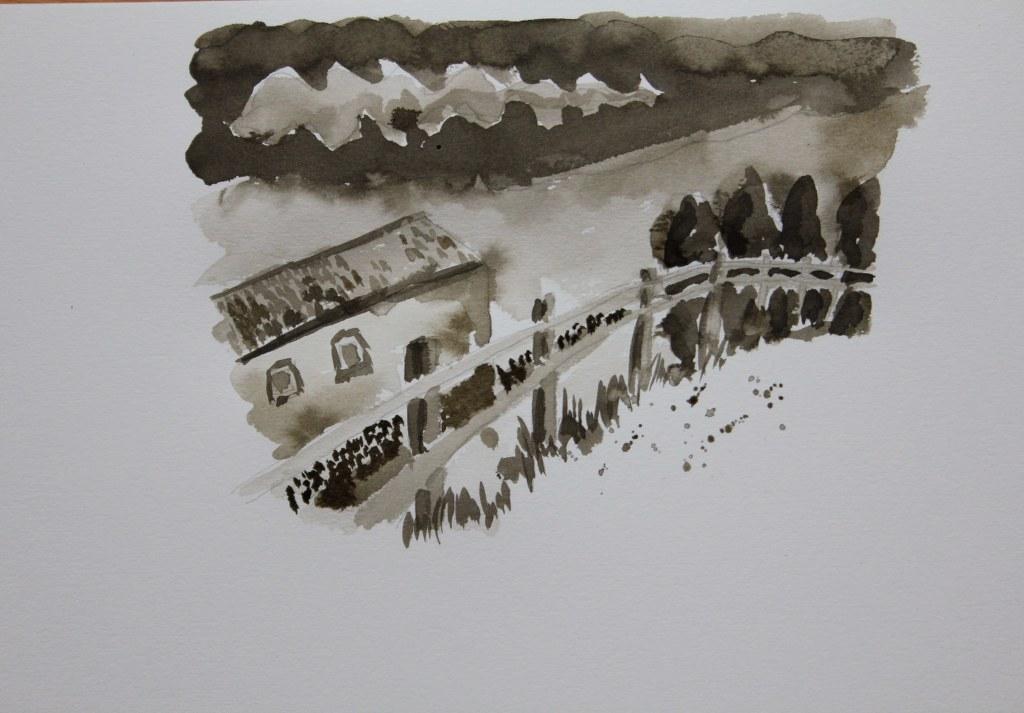 3 Entstehung Tonwerte Landschaft Sepia Tusche (c) Zeichnung von Susanne Haun