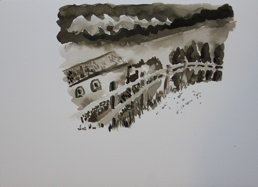 4 Tonwerte Landschaft Sepia Tusche (c) Zeichnung von Susanne Haun